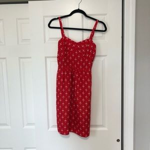 Jcrew red printed mini dress